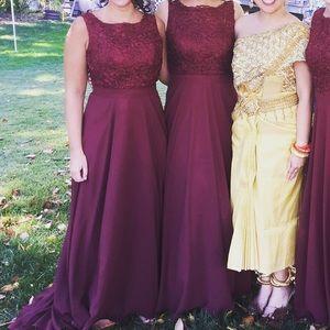 Bridesmaid dresses bill levkoff red cranberry